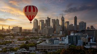 авиация, воздушные шары дирижабли, город, воздушный, шар, полет, небоскребы, закат