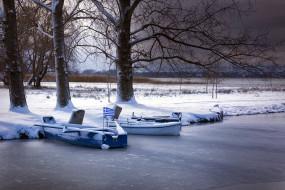 корабли, лодки,  шлюпки, зима, река, лед