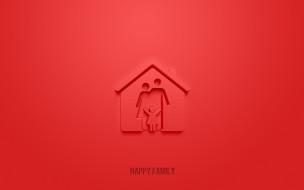 разное, надписи,  логотипы,  знаки, счастливая, семья, 3d, значок, красный, фон, символы, cемья, значек, счастливый, знак, семьи