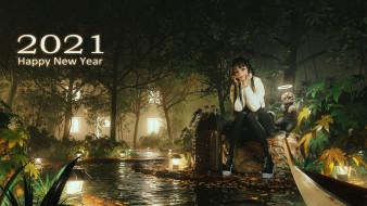 аниме, зима,  новый год,  рождество, девушка, кот, ночь, вода, свет