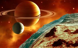 космос, арт, планеты, поверхность, сатурн