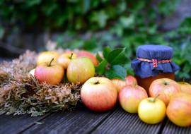 еда, яблоки, банка, варенье