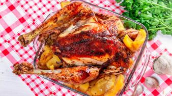еда, мясные блюда, жареный, цыпленок