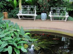 природа, парк, фонтан, ваза, скамейки