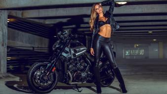 обои для рабочего стола 1920x1080 мотоциклы, мото с девушкой, alli, martinez, yamaha, v-max