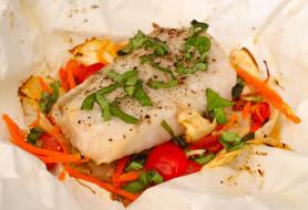 еда, рыбные блюда,  с морепродуктами, палтус, овощи