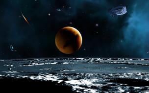 космос, арт, планеты, поверхность, корабль