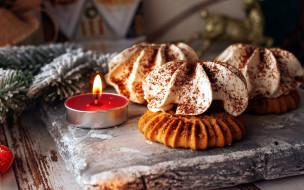 еда, пирожные,  кексы,  печенье, свеча, печенье, огонек