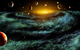 космос, арт, планеты, галактика, спираль