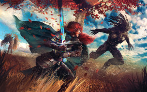 фэнтези, красавицы и чудовища, ангел, девушка, существо, рыцарь, бой, латы, меч