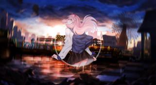 аниме, darling in the frankxx, девушка, рожки, парк