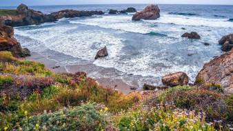 природа, побережье, скалы, берег, море, волны