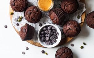 еда, пирожные,  кексы,  печенье, шоколадные, кексы, десерт