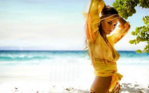 девушки, bar rafaeli, модель, топ, море, дерево