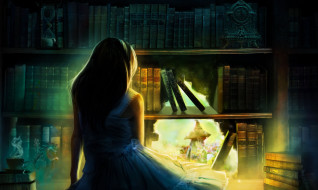 обои для рабочего стола 2209x1324 фэнтези, иные миры,  иные времена, девочка, шкаф, книги, дыра