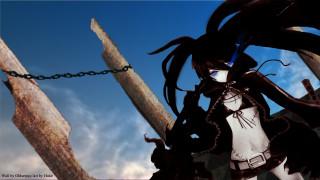 аниме, black rock shooter, девочка, шрамы, оружие