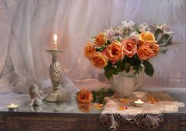 цветы, букеты,  композиции, свечи, ангел, букет, розы, альстромерия