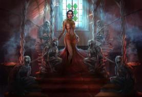 фэнтези, красавицы и чудовища, девушка, фон, взгляд, платье, лестница, скульптура
