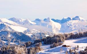природа, горы, снег, деревья, дом