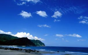 природа, побережье, небо, облака, горы, море, берег, япония