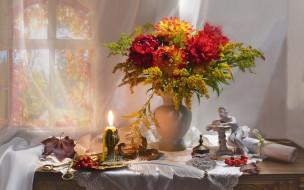 цветы, букеты,  композиции, свеча, перо, свиток, статуэтка, букет, георгины
