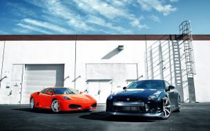 автомобили, nissan, datsun, красный, черный, здание