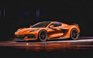автомобили, corvette, 2022, chevrolet, 4k, вид, спереди, оранжевый, спортивное, купе, суперкар, американские, спорткары, chevy