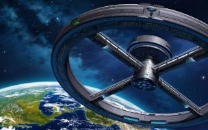 фэнтези, космические корабли,  звездолеты,  станции, космос, планета, станция