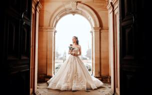 девушки, - невесты, невеста, свадебное, платье, роза