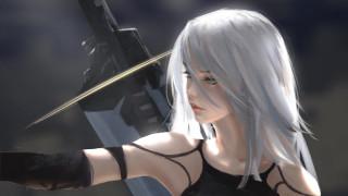 видео игры, nier,  automata, девушка, киборг, меч