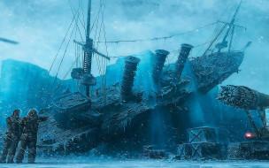 фэнтези, корабли, корабль, снег, лед, люди, ящики, оборудование