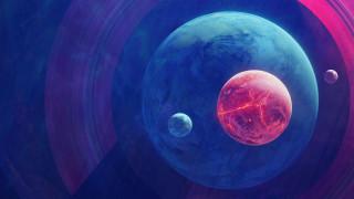 космос, арт, планеты, спутники, кольца