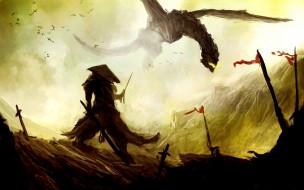 фэнтези, драконы, самурай, дракон
