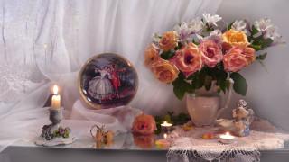 цветы, букеты,  композиции, свечи, статуэтка, блюдо, букет, розы, альстромерия