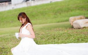 девушки, - невесты, азиатка, платье, лужайка