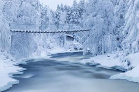 Красота Да Ляпота обои для рабочего стола 2048x1365 красота да ляпота, природа, пейзажи, пейзаж, финляндия, зима, снег, деревья, река, мост, леса