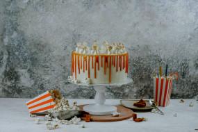 еда, торты, карамельный, торт, лакомство
