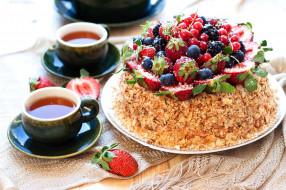 еда, торты, чай, торт, ягоды