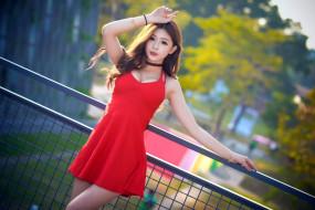 обои для рабочего стола 1920x1281 девушки, - азиатки, азиатка, платье, красное, декольте