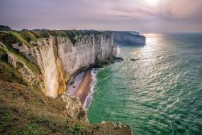 cliffs of etretat, normandy, france, природа, побережье, cliffs, of, etretat