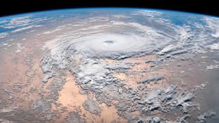 космос, земля, ураган, из, космоса