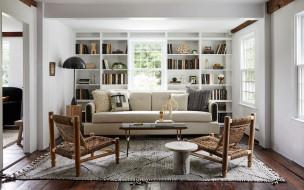 интерьер, гостиная, мягкий, уголок, книжный, шкаф