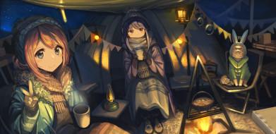 аниме, laid-back camp, лагерь, на, свежем, воздухе
