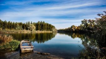 река, старая, лодка