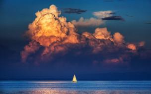 небо, облака, море, парус