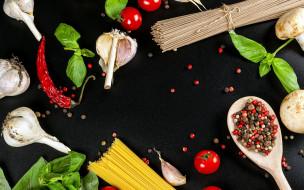 еда, макароны,  макаронные блюда, спагетти, чеснок