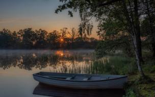 лодка, закат, озеро