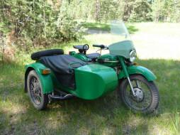 Урал, мотоцикл, коляска, лес