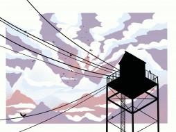 векторная графика, другое , other, небо, облака, горы, птицы, провода, станция