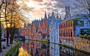 города, брюгге , бельгия, канал, мост, закат